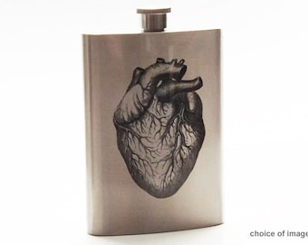 Anatomy Stainless Steel Flask 8 oz. with funnel anatomical heart medical gift doctor male nurse practitioner physician assistant hip pocket
