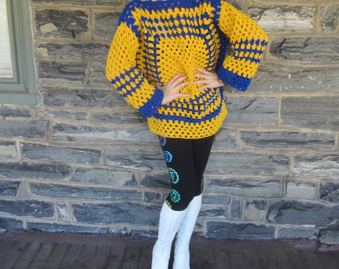 CROCHET SWEATER/Afghan sweater/oversize sweater/women's sweater/Gift for her/Christmas gift/birthday gift/Hippie boho crochet sweater/Jumper