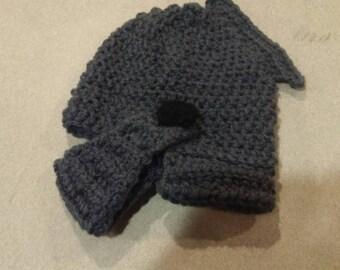 Baby size Knight helmet crochet hat