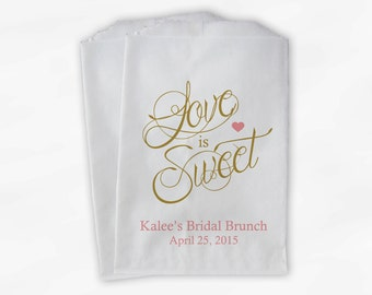 Love Is Sweet Calligraphy Bridal Shower Candy Buffet Treat Bags - Personalized Favor Bags in Rose Pink & Gold - 25 Custom Paper Bags (0122)