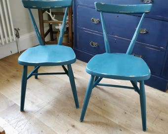 Vintage Ercol kids stacking chairs. Playroom chairs. Small painted chairs. retro chairs. ercol. (1389)