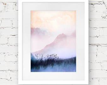 mountain landscape art, dreamy landscape art, peach pink art print, modern minimal art, landscape photography print,  millennial pink art