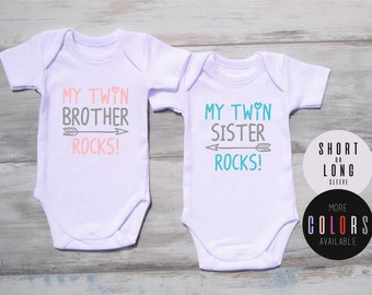 Boy And Girl Twins, My Twin Brother Rocks & My Twin Sister Rocks White or Black Bodysuits, Boy And Girl Matching Clothing, Twin Babies