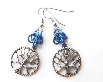 Tree of life earrings, Blue chainmaille earrings, Gothic tree jewelry
