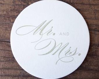Mr. & Mrs. Letterpress Coasters - Set of Ten