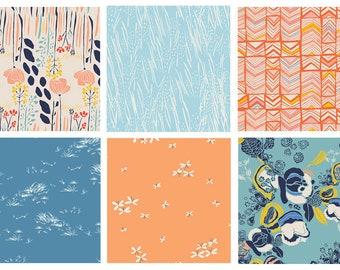 Modern Floral Quilting Bundle | Blue Peach Flower Fabrics | Gardening | Meadow by Leah Duncan | Art Gallery Fabrics | Butterflies