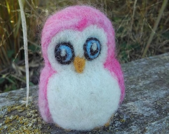 Gorgeous little needle felted pink owl