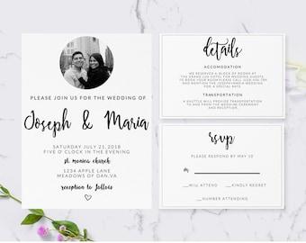 Customizable Wedding Invitation Package PDF,Minimalist Wedding Invitation Custom Digital Download,Minimalism Wedding Invitation Package PDF