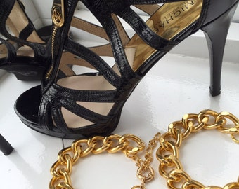 2 Anklets, Chunky Chain Anklets, Chunky Chain Jewellery, Gold chunky chain Anklets