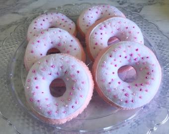 half dozen CHERRY Felt Donuts || felt food, felt donut, imaginative play, pretend bakery, gift for kids, pink donut, sprinkles