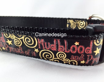 Dog Collar, Mudblood, 1 inch wide, adjustable, quick release, medium, 15-22 inches