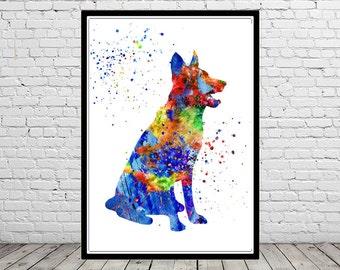German Shepherd, watercolor German Shepherd, German Shepherd print, German Shepherd art, dog print, home decor, watercolor print dog