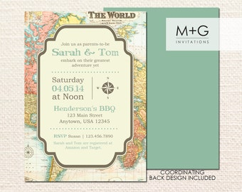 Greatest Adventure World Map Invitation: Digital Printable Invite