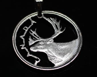 """Deer Caribou with the word """"Canada""""  Pendant & Necklace Canada 25 cents Cut coin"""