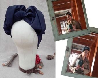 Turban Headband Turbandband marine dunkelblau blau Herbst Worker Style Haarband Vintage fifties forties 40-er 50-er Fünfziger Haarschmuck
