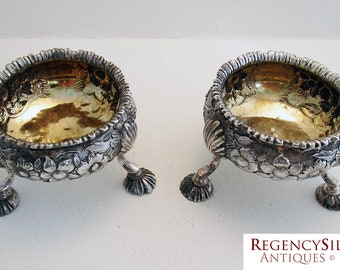 Pair GEORGIAN George III (1772) ANTIQUE Solid Sterling Silver English Hallmarked Salts Dish Cellars