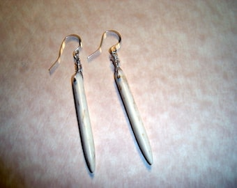 White Turquoise Spike Earrings, Indian Spiked Earrings, Native American Earrings. Gemstone Spike Earrings,  Sterling Silver Ear wires