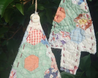 Quilt Christmas Tree Ornaments Upcycled Repurposed Shabby Vintage