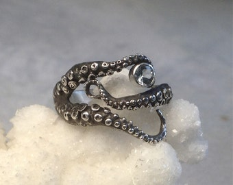 SALE Tentacle Ring, Octopus Ring, Sterling Silver- Aquamarine Seductive Tentacle Ring, Engagement Ring, Wedding Band, Octopus Jewe