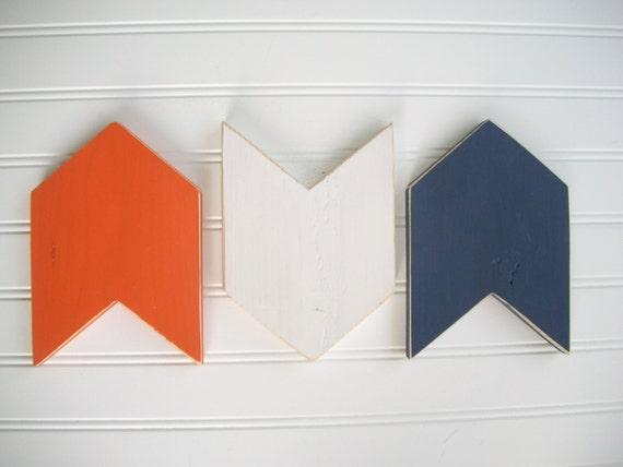 Chevron Arrows . Arrow Wall Decor . Arrow Set .  NavyOrange White Arrows  . Modern Nursery . Tribal Nursery . 5 x 7 . Boho Baby