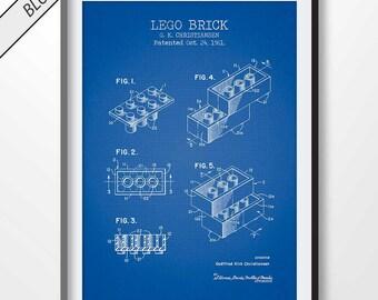 LEGO BRICK patent print, lego poster, lego blueprint, lego illustration, lego wall art, lego decor, lego block, lego brick, lego toy, game