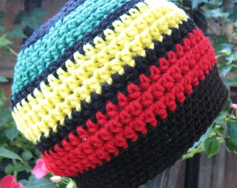 Children Jamaican /Black Hippie Rasta Tam Slouchy Hat crochet