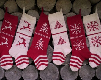 """Knit Christmas Stockings ~24"""" Personalized Hand knit Wool White Cranberry Red with Tree Deer Snowflakes Stripes ornaments Nordic style"""
