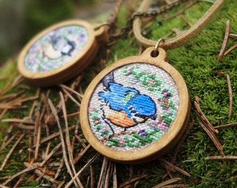 Titmouse pendant Blue tit necklace Fabric jewelry Garden bird necklace Great tit British garden bird Animal jewelry Gift for ornithologist