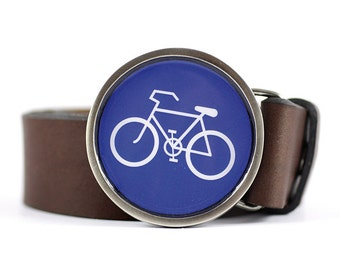 Bicycle Belt Buckle, Bike belt buckle, Blue belt buckle, Sport belt buckle