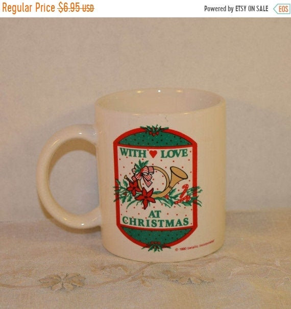 Delayed Shipping Christmas Mug Vintage With Love at Christmas Cup Red & Green Coffee Cup Christmas Hot Chocolate Christmas Gift Secret Santa
