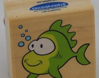 Felipe The Fish rubber stamp, Card making, scrapbooking, favors, gift tags