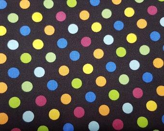 Black Fabric with Royal Blue, Lemon Yellow, Magenta, Orange, Light Blue and Lime Green Spot