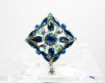Juliana D&E Blue Aurora Borealis Square Pin Brooch