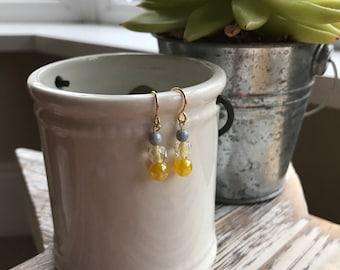 Tara Drop Earrings / Wedding Jewellery / Yellow Earrings / Bridesmaids Jewellery / Gift Ideas / Mothers Day / Trending Jewellery