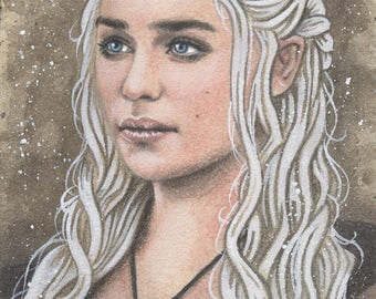 Daenerys Targaryen - Emilia Clarke - Game of Thrones Traditional Art Watercolor Painting - ACEO Print - Hand Signed