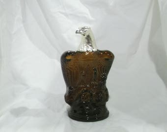 Vintage Avon Decanter, Cologne Bottle, Bald Eagle, Eagle, American Eagle, Brown Glass, After Shave, Aftershave