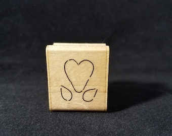 Heart Flower Used Rubber Stamp View all Photos