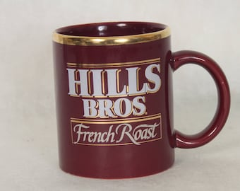 Retro Hills Bros French Roast Coffee Mug Hills Brothers Coffee Advertising Brown Collectible Unique Gift Ideas