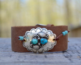 Sterling Concho Turquoise Bracelet . Repurposed . Leather . Vintage Sterling Concho . Southwestern .