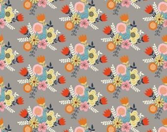 Floral Fabric - Birch Organic Cotton Fabric - Nesting - Wildland Poplin - Birds and Flowers - Retro Flower Fabric