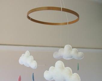 Cloud & raindrop mobile- perfect for nursery, baby/children's room. Custom colours for raindrops. Wool felt.