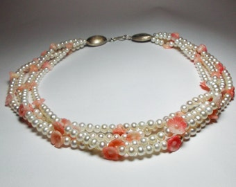 Pearl necklace with coral flowers
