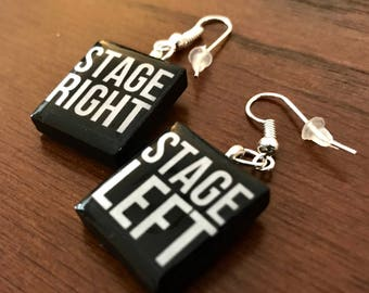 Theater Geek Stage Left Right Custom Scrabble Tile Earrings