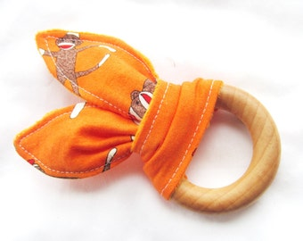 Natural Wooden Teether with Crinkles - Sock Monkeys in Orange with Orange Minky Dot (Small) - Neutral Baby Gift - Natural Teething