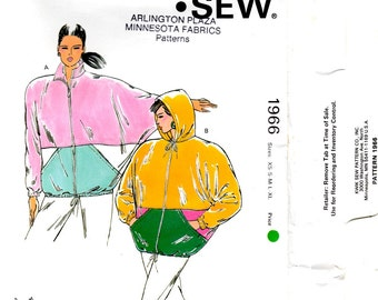 Misses Jacket Dolman Sleeves Collar or Hood Adult Women Sizes Extra Small Small Medium Large Extra Large Kwik Sew 1966 Craft Pattern
