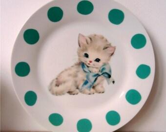 Kawaii Cat Vintage Kitten Plate Altered Art