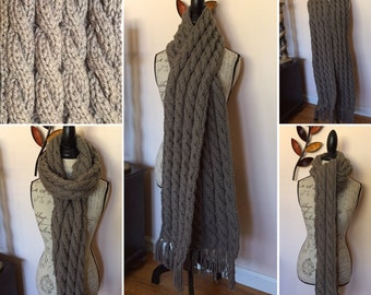Extra Long chunky cable knit scarf with Tassels, Cable Knit scarf, chunky knit scarf, long scarf, long wrap around scarf