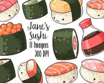 Kawaii Sushi Clipart - Nigiri Download - Kawaii Design Download - Tuna, Red Snapper, Salmon, Soy Sauce