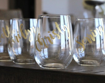 custom bridesmaids stemless wine glasses