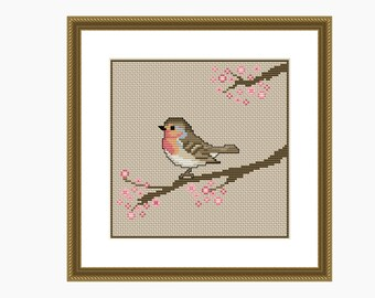 Cross Stitch Pattern, Modern Cross stitch. BLOSSOM BIRD cross stitch chart - Instant download PDF cross stitch pattern